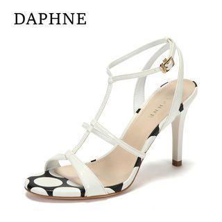 Daphne/達芙妮專櫃細帶拼色宴會時裝高跟女涼鞋全新清倉 挑戰最低價任選3件免運費