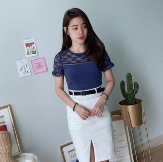 White Midi Split Skirt