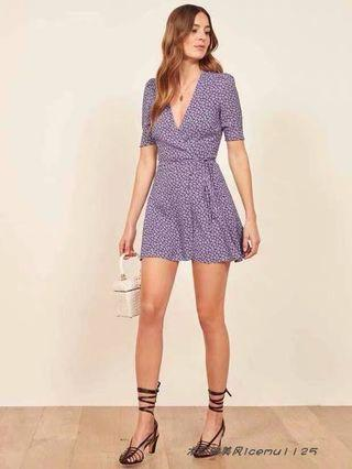 🚚 reformation inspired purple floral wrap dress
