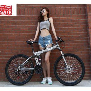 Grey Foldable Soldier Bicycle Brand New and Free gifts Worth $80
