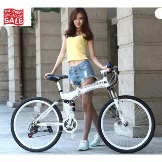 White Foldable Soldier Bicycle Brand New and Free gifts Worth $80