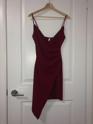 M Boutique maroon wrap dress //medium