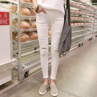 🚚 現貨🔥2019新款打底褲魔術白色顯瘦牛仔褲百搭九分小腳休閒長褲