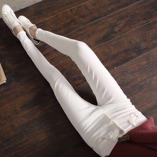 🚚 現貨🔥高腰白色牛仔褲2019春款韓版顯瘦百搭小腳褲緊身九分褲