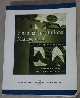 Textbook Original Bahasa Inggris 'Financial Institution Management' 6th International Edition (Pre-Owned)