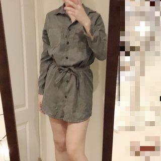鐵灰色長袖襯衫綁帶洋裝