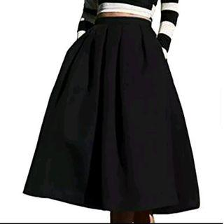 High Waisted Pleated A-Line Skirt