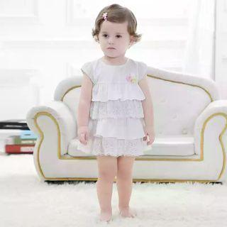[Free Shipping] White Baby Princess Dress with Lace (24M)