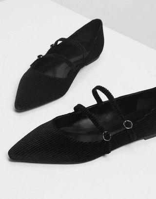 Double Mary Jane Flats Velvet Black