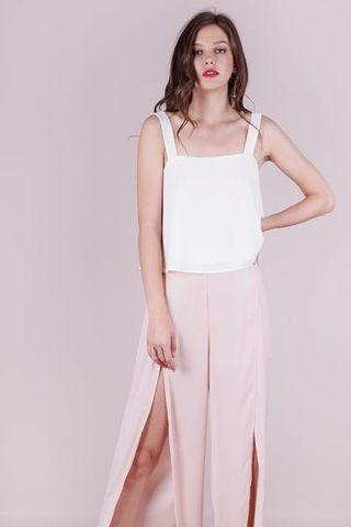 TTR NIXON FLARE TOP blush pink + white