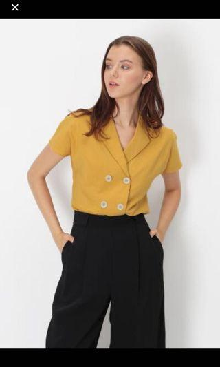 AFA Lucie Collar Button Blouse in Honey