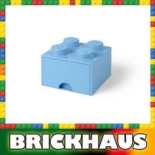 樂高 LEGO 4003L/4005 淺藍色 Aqua 方形儲物箱連拉柜 Storage Brick Drawer 4