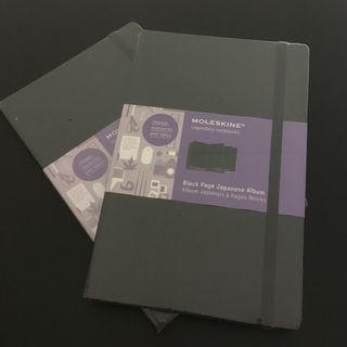 2X Moleskine Japanese black page album, new and sealed