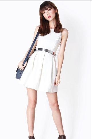 FOREVER BOX PLEATED DRESS IN WHITE