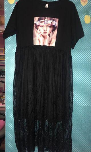 BLACK TSHIRT DRESS free size