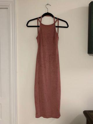 Backless Pink velvet dress - Shein