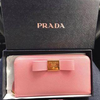 Pink Leather SAFFIANO FIOCCO Ribbon WALLET