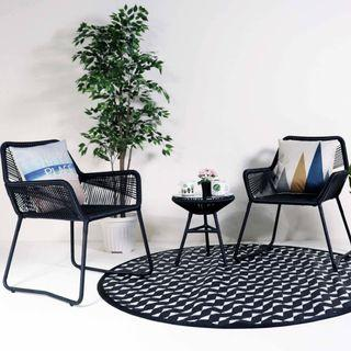 Patio Armchair Set with 2 Chairs and 1 Table with glasstop