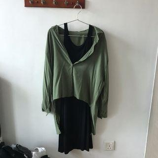 🚚 Two-piece: Black Dress with Dark Green Collared Shirt