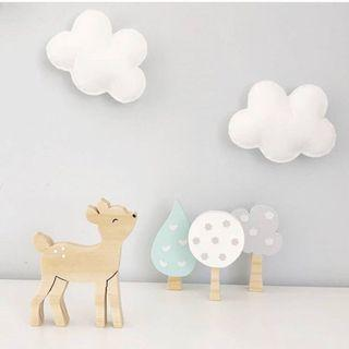 Nordic small tree 3pcs set of wooden blocks child room deco