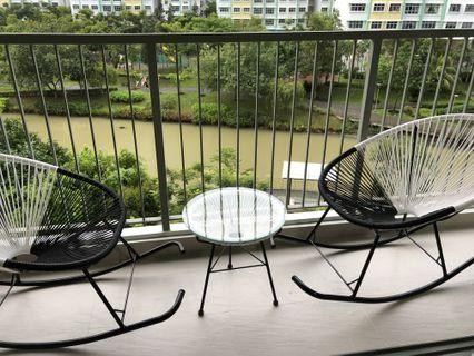 Balcony Rattan Rocking Chairs & Table Set