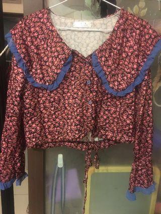短版粉色豹紋公主風襯衫