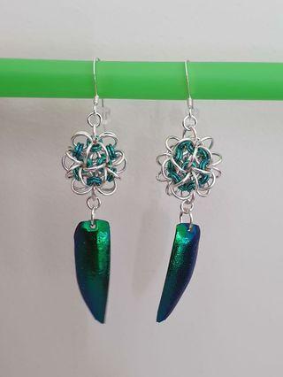 Handmade Elytra Beetle Earrings