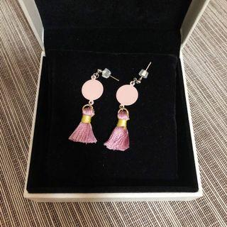 Pastel Pink Tassel Earrings