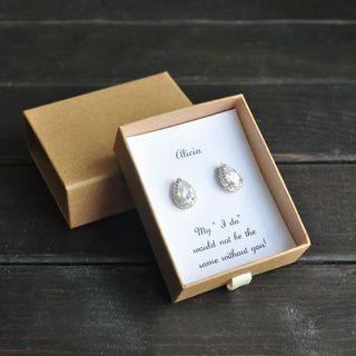 Bridesmaid Gift,Custom Bridesmaid Earrings, Bridal Party Gift,Wedding Earrings, Cubic Zirconia Earrings