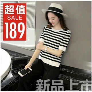 夏新款 女裝 寬鬆 韓版 大碼 上衣 黑白條紋 前短 後長 短袖 T恤 女打底
