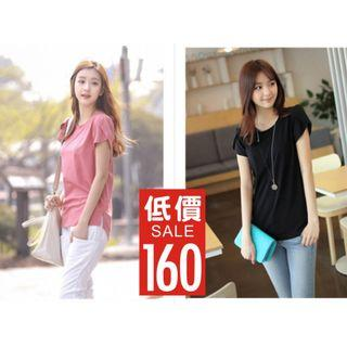 新品 新款 韓版 純色 寬鬆 大碼 上衣 圓領 短袖 女T恤 夏裝 打底衫