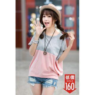上衣 夏季 韓版 大碼 女裝 寬鬆 蝙蝠衫 學生 女士 短袖 T恤 夏裝