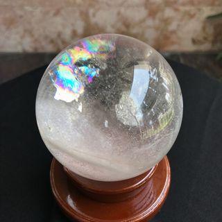 天然白水晶球76mm 有彩光