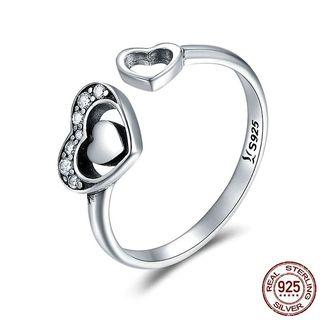 925 Sterling Silver Double Heart Pave CZ Adjustable Women Authentic Silver Jewelry Women Fashion Jewelry