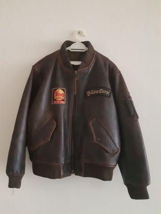 Yellow corn leather jacket original MA-1