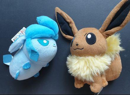 Pokemon Eevee & Glaceon Plush Toy Lot