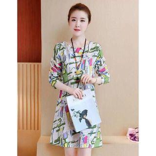Milk silk dress with sling strap and shoulder broken flower beach skirt
