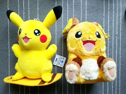 Pokemon Plush Toy Surfing Pikachu & Raichu Bundle