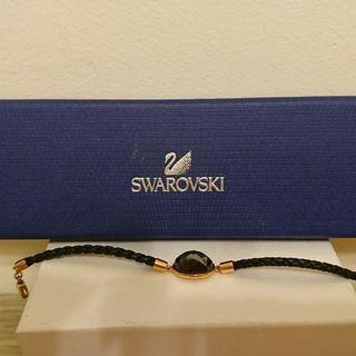 🚚 SWAROVSKI 黑水晶 皮革 手鏈