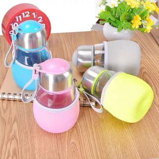 Penguin Glass Water Bottle High Silica With Stainless Stell Tea Infuser Stainer And Protection Cover 400ml