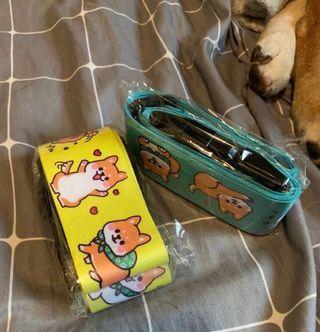 柴犬 行李帶 (有密碼鎖) 綠色/黃色
