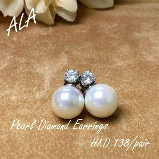 925 純銀 10mm 珍珠 水鑽 鑽石 耳環 耳釘 925silver 10mm pearl cz diamond earrings *ALA mama*