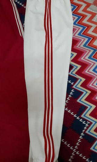 adidas 三線褲 白紅