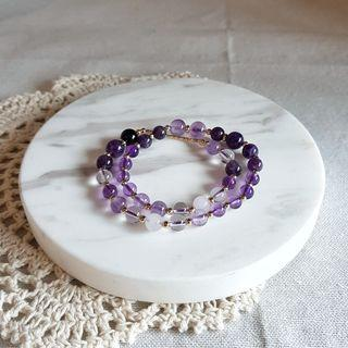2 rounds crystal bracelet with Amethyst, Clear Quartz, Chalcedony and Tourmaline