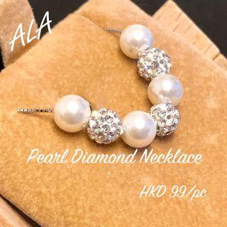 925純銀 6mm珍珠 水晶頸鏈 925 Silver pearl and crystal necklace  *ALA mama*