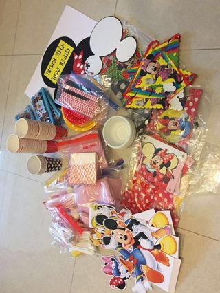 Party decorations Mickey Minnie Disney clubhouse theme balloons banners etc