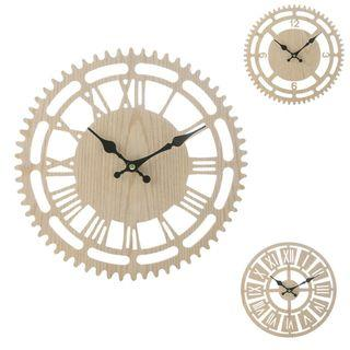 🚚 Novelty Antique Wooden Gear Clock Roman and Numbers