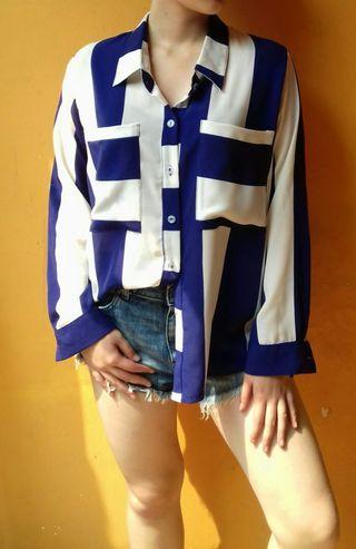 Big Stripe Sleeves Top