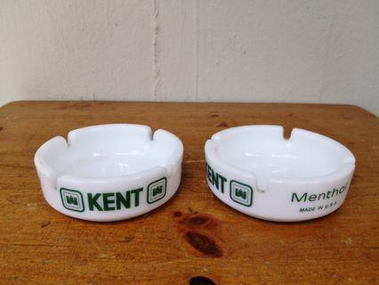 Vintage Kent milk glass ash tray