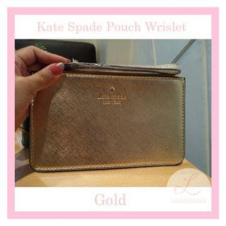 Kate Spade Pouch Wrislet Authentic Gold